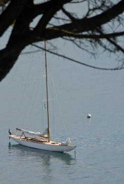 Cornwall, St. Mawes. The 8 metre Pinuccia, 1938, designed by Vincenzo Baglietto.